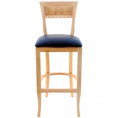 Beidermeir Wood Bar Stool - Natural Finish with a Black Vinyl Seat