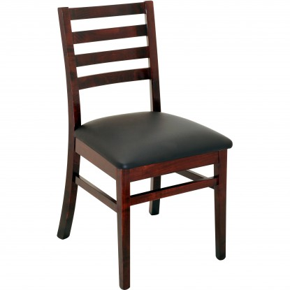Designer Series Americano Ladder Back Chair - Dark Mahogany Finish with a Black Vinyl Seat