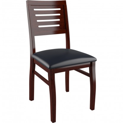 Kingston Side Chair - Dark Mahogany Finish with a Black Vinyl Seat