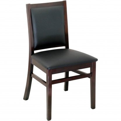 Designer Series Fully Upholstered Back - Dark Mahogany Finish with a Black Vinyl Seat
