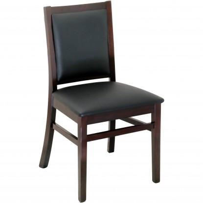 Designer Series Fully Upholstered Back - Dark Mahogany Finish with a Black Vinyl Seat
