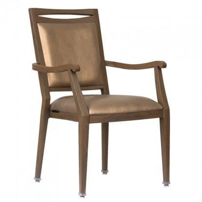 Agnes Wood Grain Aluminum Arm Chair