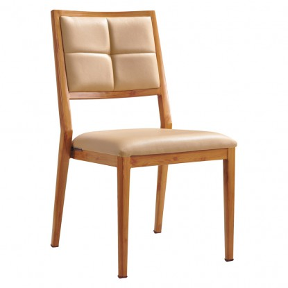 Milano Modern Padded Wood Grain Aluminum Chair