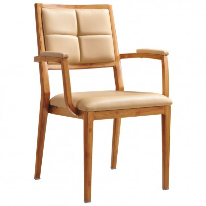 Milano Modern Padded Wood Grain Aluminum Arm Chair