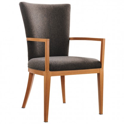 Sereno Wood Grain Aluminum Upholstered Arm Chair