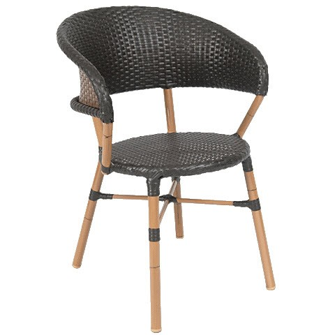 curved back aluminum patio chair with faux wicker fru erat 34