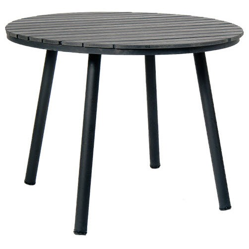 Table With Black Metal Frame And Black Plastic Teak Top