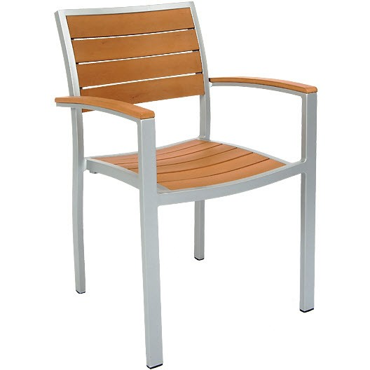 Patio Arm Chair With Aluminum Frame And Plastic Teak