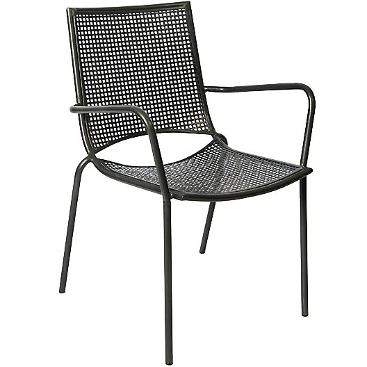 Stackable iron patio arm chair with iron mesh seat and back for Mesh patio chairs