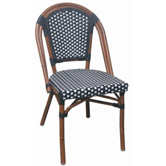 Aluminum Bamboo Patio Chair With Black Amp White Rattan
