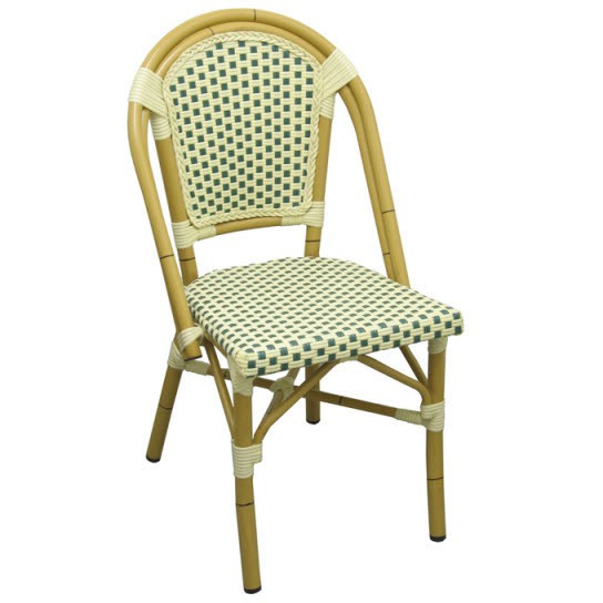 sc 1 st  Restaurant Furniture & Aluminum Bamboo Patio Chair With Green and White Rattan