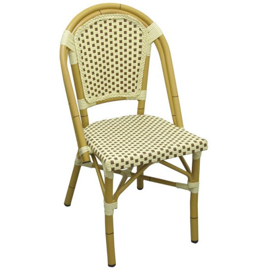 aluminum bamboo patio chair with brown white rattan