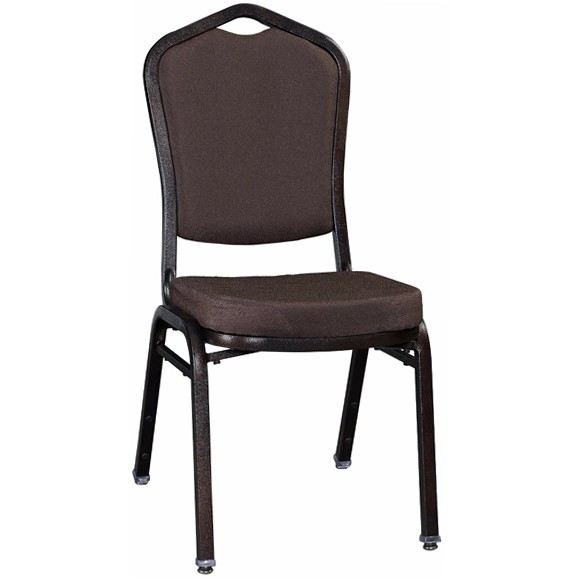 Premium Metal Stack Chair Copper Vein Frame With Brown Fabric