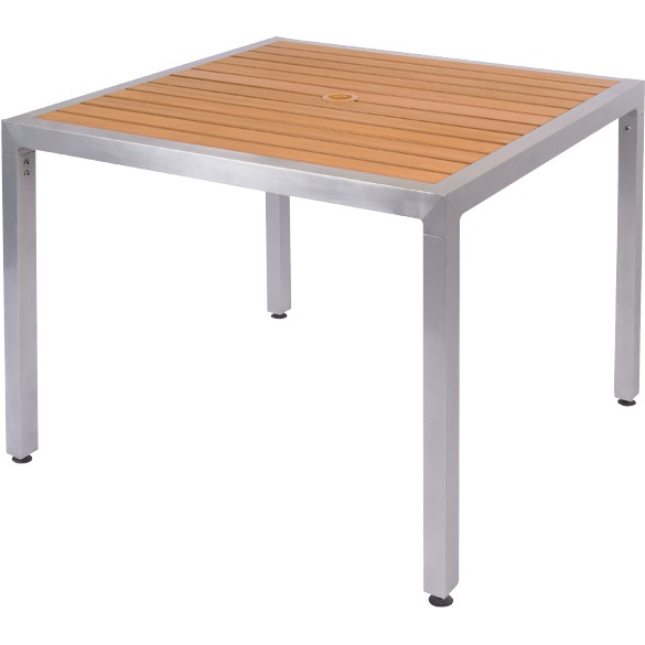 natural plastic teak aluminum patio table