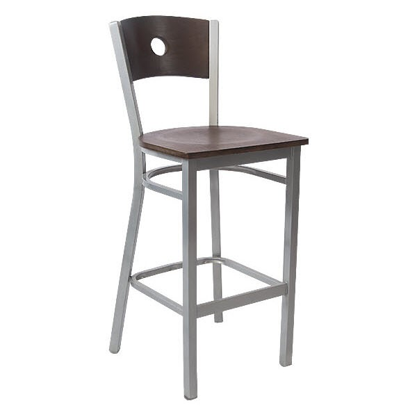 Silver Interchangeable Back Metal Bar Stool With Circled Back