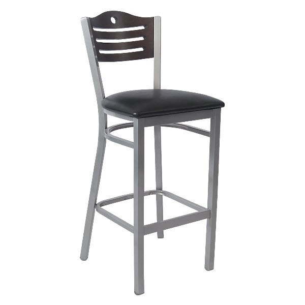 Silver Interchangeable Back Metal Bar Stool With Slats