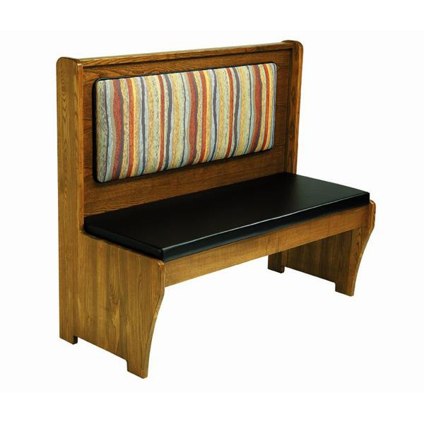 Wood bench with padded seat wood back Padded bench seat