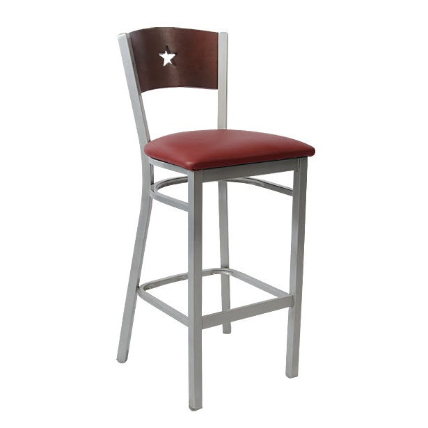 Grey Finish Interchangeable Star Back Metal Bar Stool
