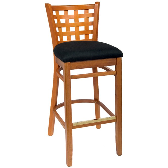 lattice back wood bar stool natural finish with a black fabric seat