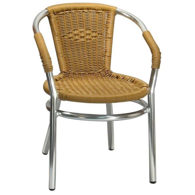 Aluminum Patio Arm Chair With Faux Honey Rattan