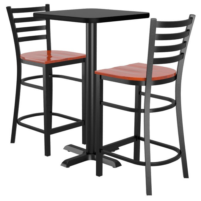 Set Of 2 Ladder Back Metal Bar Stools And Table Top With Base