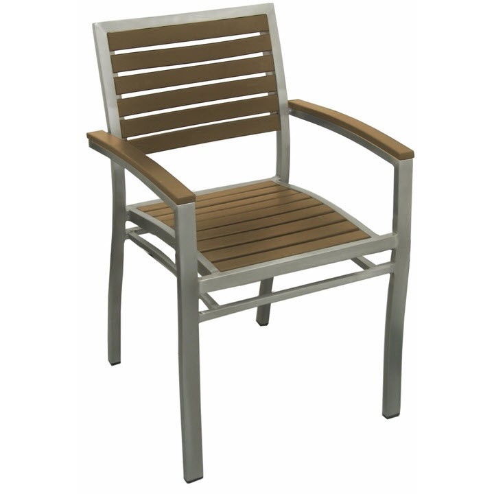 Aluminum Patio Arm Chair With Plastic Teak