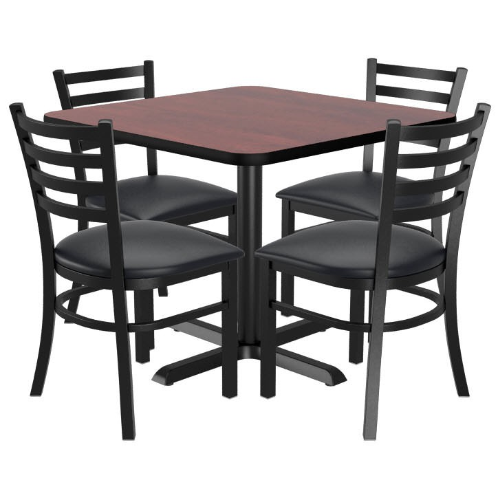 Set Of 4 Ladder Back Metal Chairs With A Square Reversible