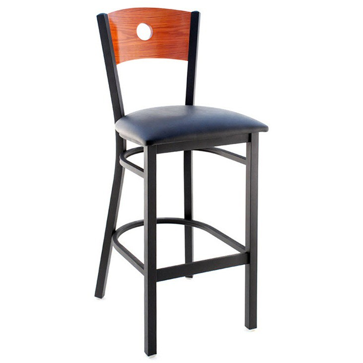 Interchangeable Back Metal Bar Stool With Circled Back