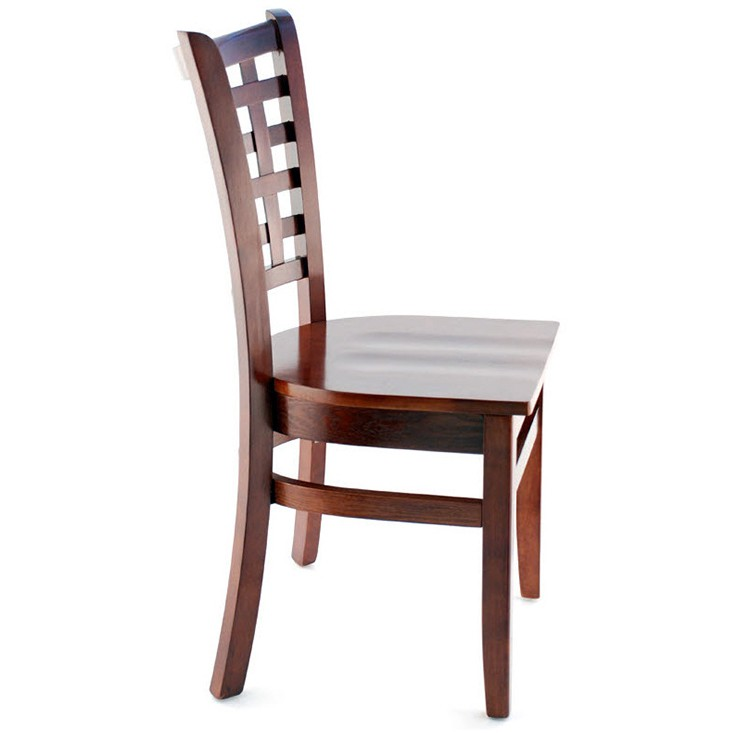 made lattice back wood chair dark mahogany finish with a wood seat