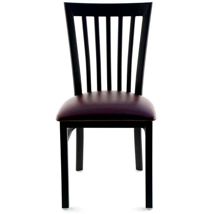 Elongated Vertical Slat Back Restaurant Metal Chair