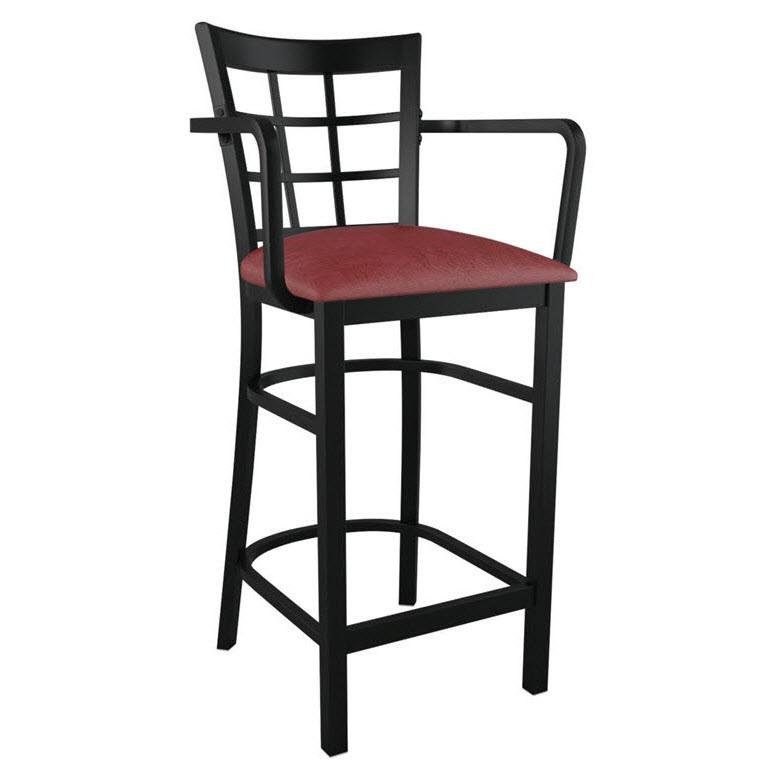 window back metal bar stool with arms. Black Bedroom Furniture Sets. Home Design Ideas