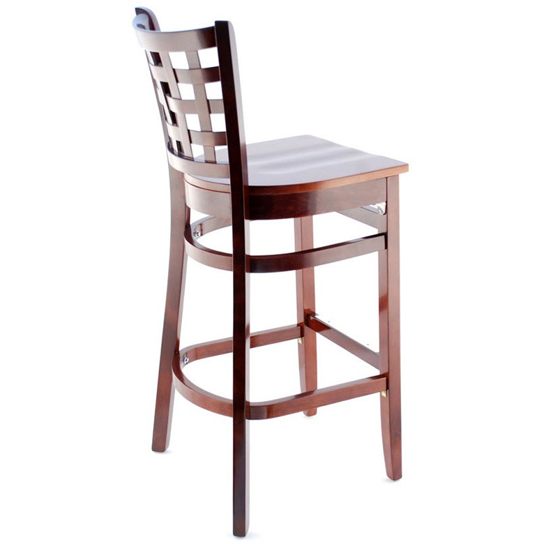 lattice back wood bar stool dark mahogany finish with a wood seat