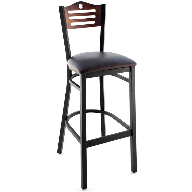 Interchangeable Back Metal Bar Stool With Slats Amp Circle