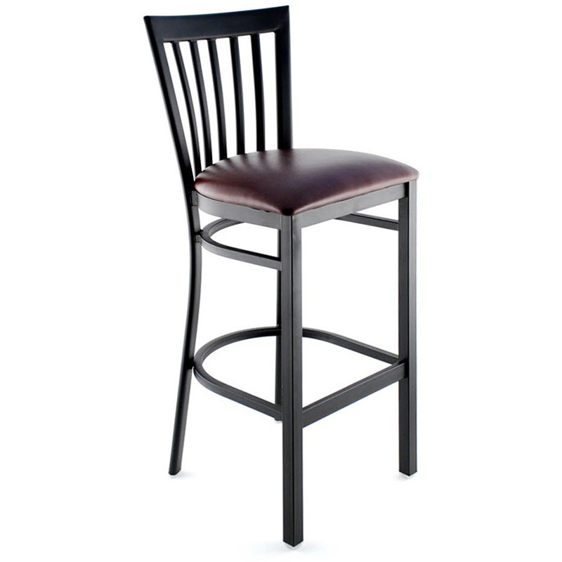 Elongated Vertical Slat Back Bar Stool