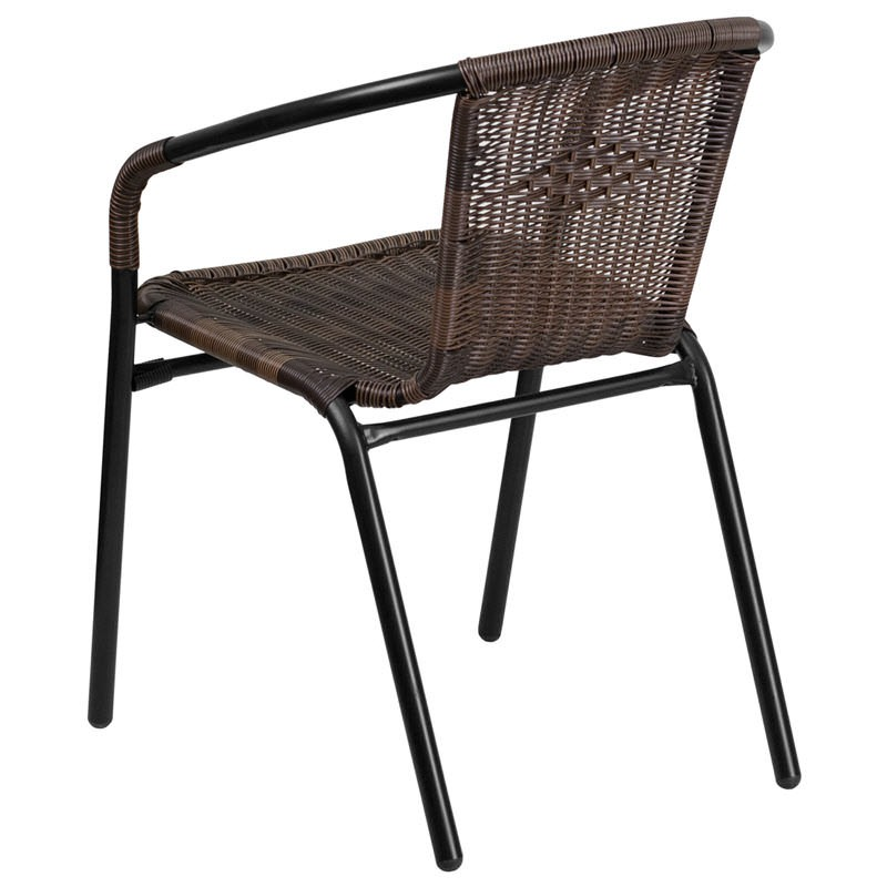 Dark Brown Rattan Patio Chair With Black Powder Coated