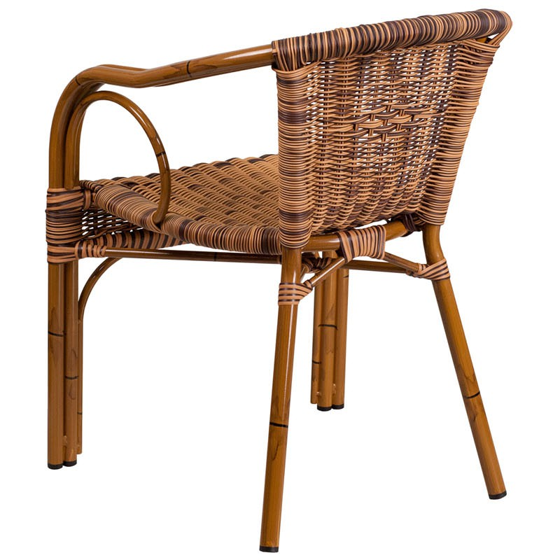 Aluminum Bamboo Patio Chair With Brown Rattan
