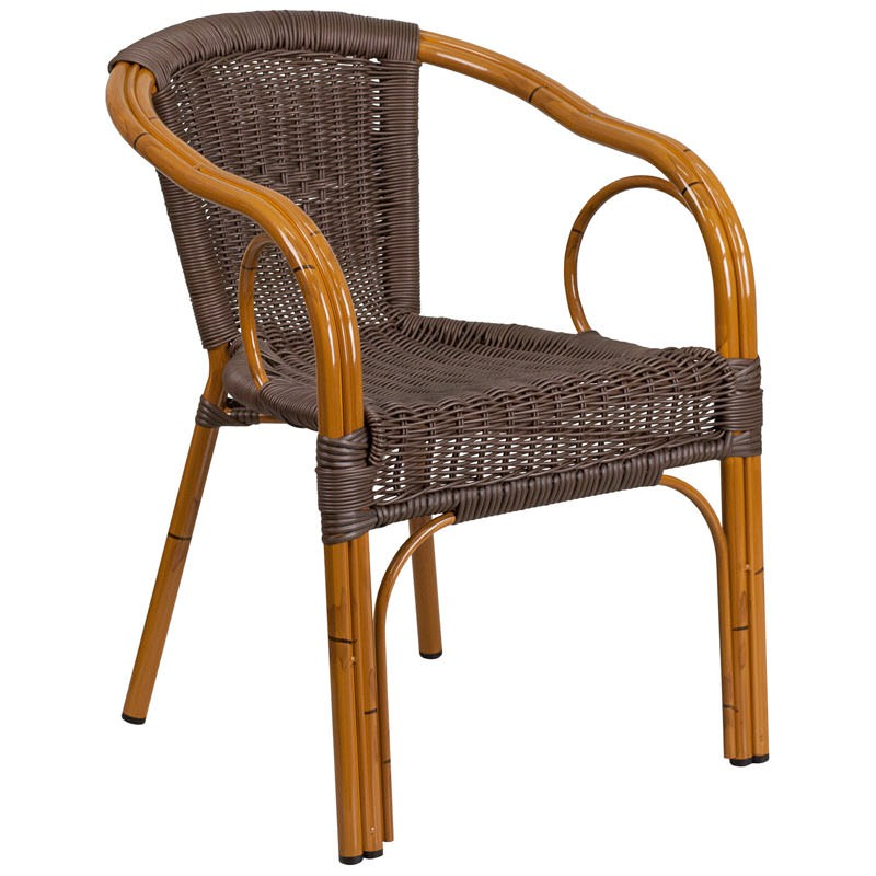 Dark Brown Rattan Aluminum Chair With Cherry Frame Finish