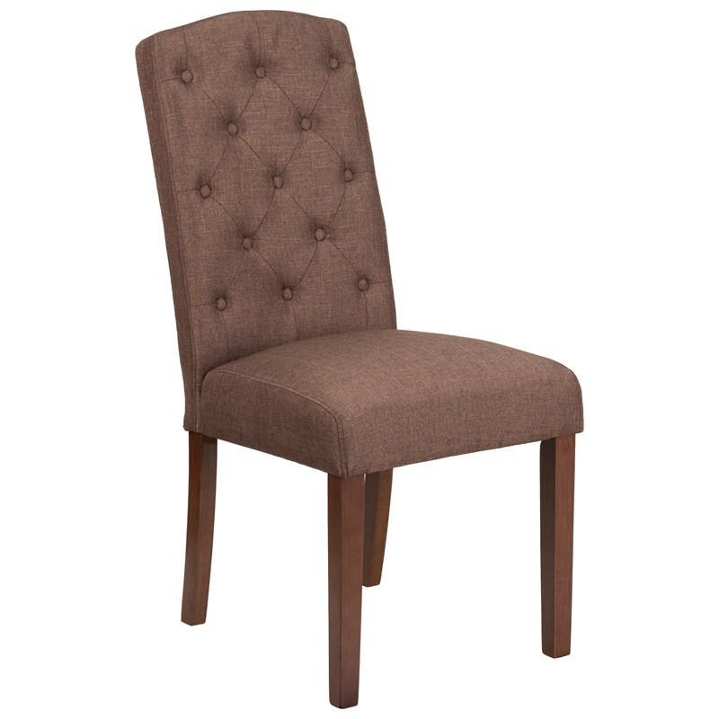 Button Tufted Parsons Wood Chair