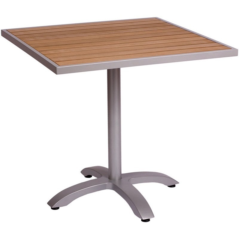 Elegant Aluminum Patio Tables With Plastic Teak Top