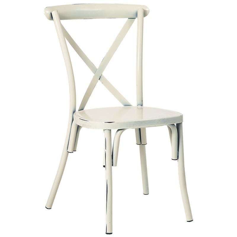 Stackable Metal X Back Chair In Distressed White Finish
