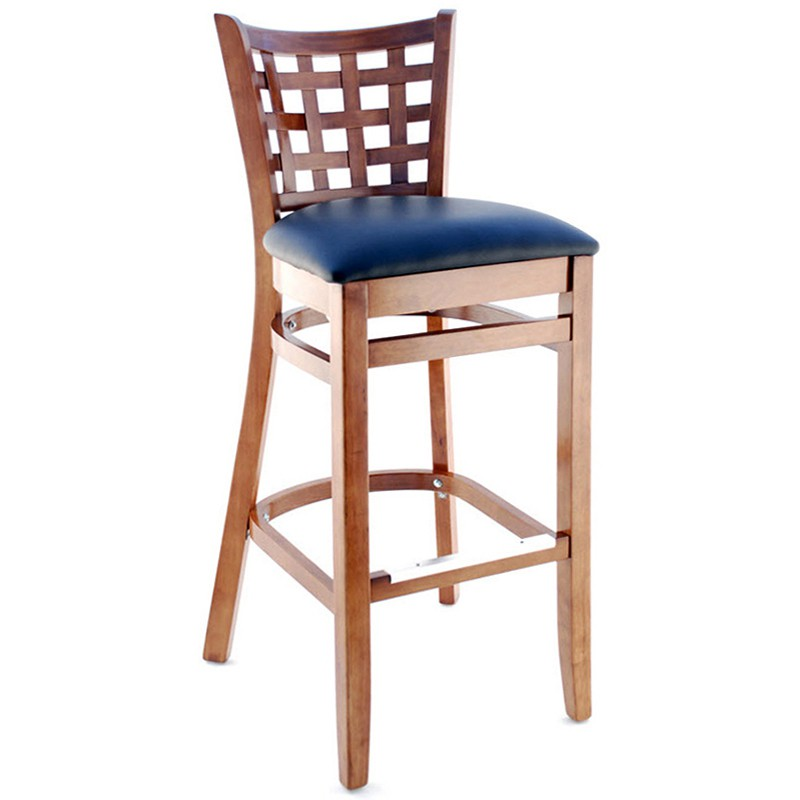 lattice back wood bar stool walnut finish with a black vinyl seat