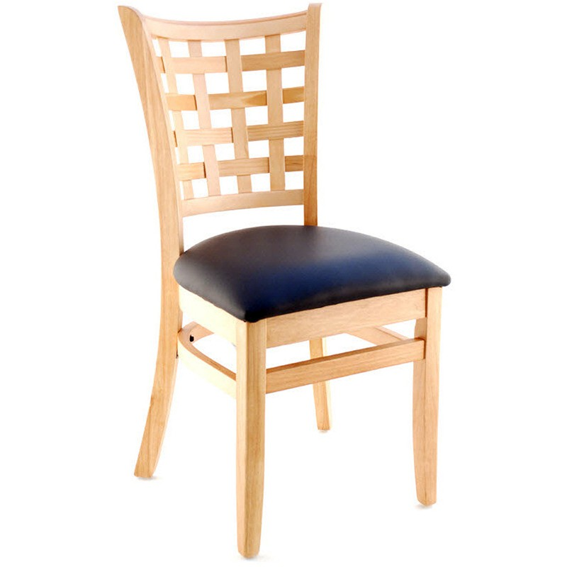 premium us made lattice back wood chair natural finish with a black