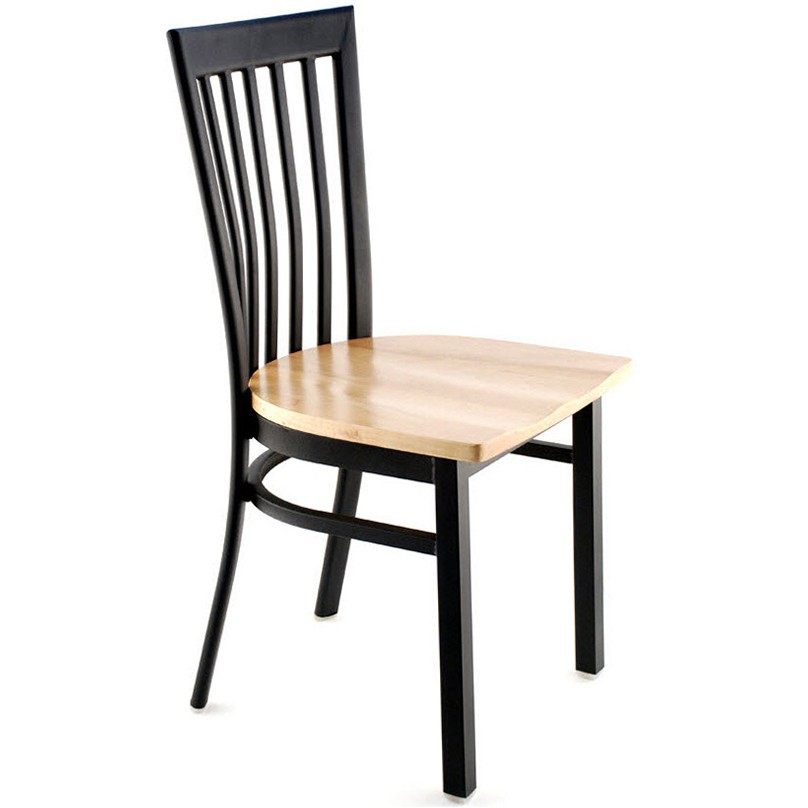 ... Elongated Vertical Slat Back Metal Chair   Black Finish With A Natural  Finish Wood Seat ...