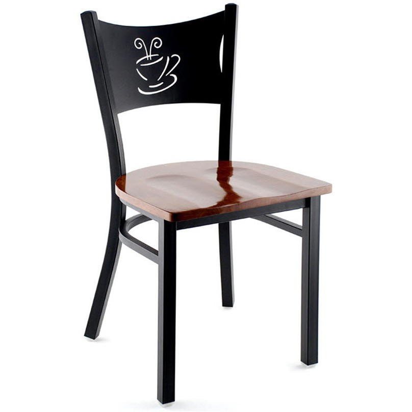 Metal Coffee Cup Restaurant Chair Black Frame With A Walnut Finish Wood Seat