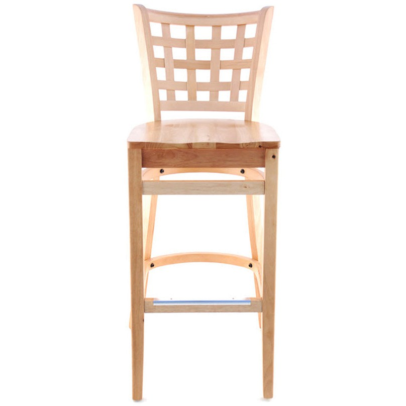 lattice back wood bar stool natural finish with a wood seat