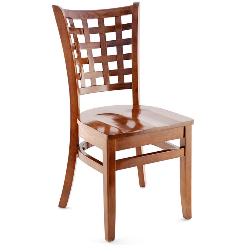 us made lattice back wood chair walnut finish with a wood seat