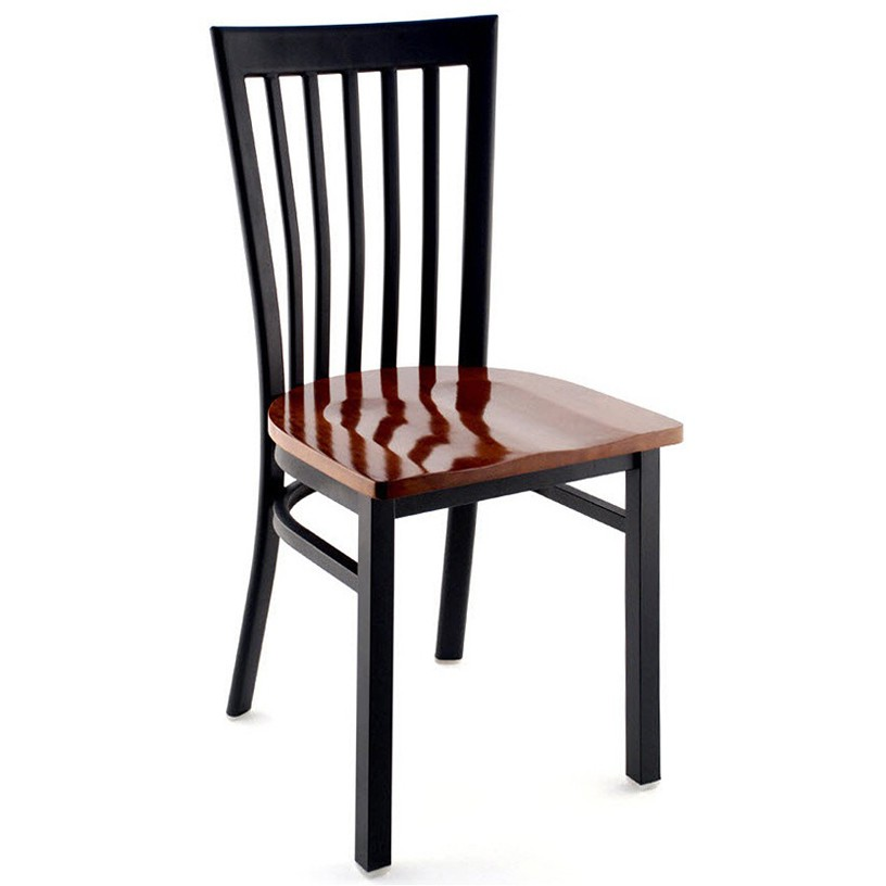 Elongated Vertical Slat Back Restaurant Metal Chair