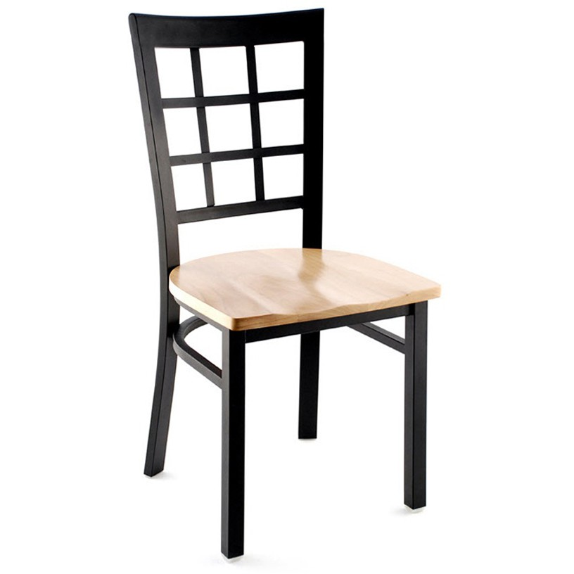 Window Back Metal Restaurant Chair - Black Finish with a Natural Finish Wood Seat ...  sc 1 st  Restaurant Furniture & Window Back Metal Restaurant Chair