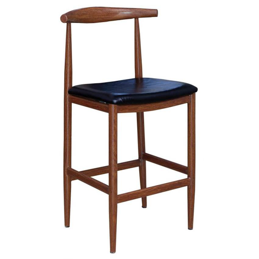 Wood Grain Metal Bar Stool In Walnut Finish With Black