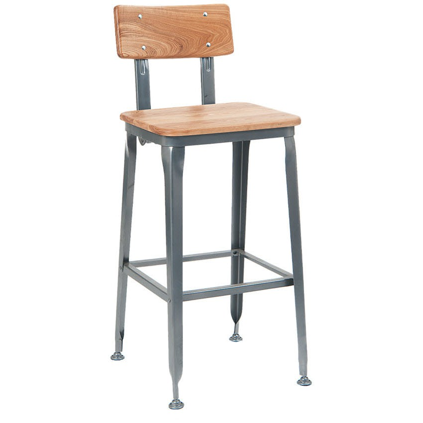 Dark Grey Metal Bar Stool With Natural Wood Back And Seat